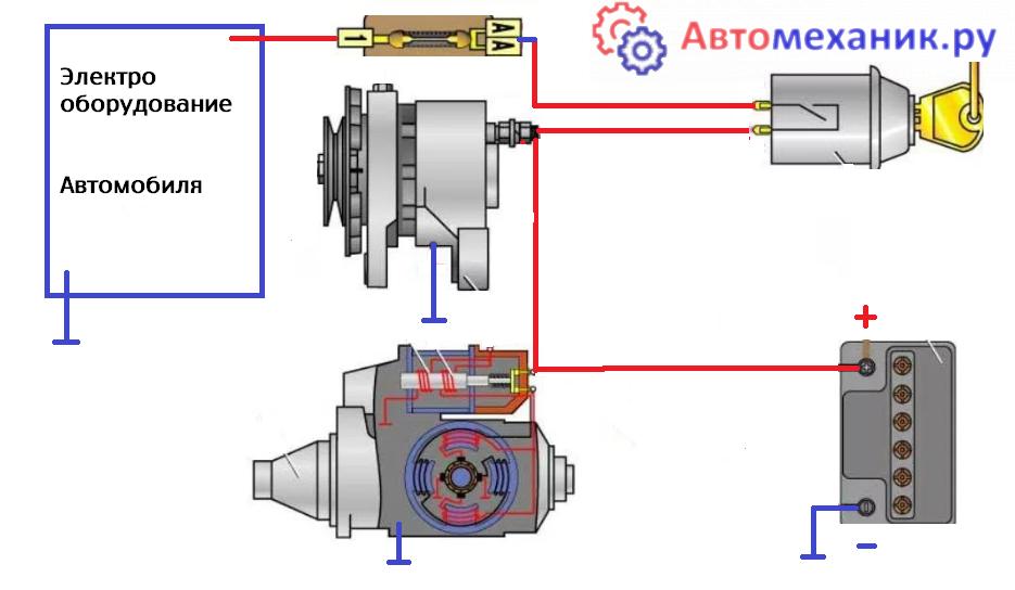 Сема подключения генератора